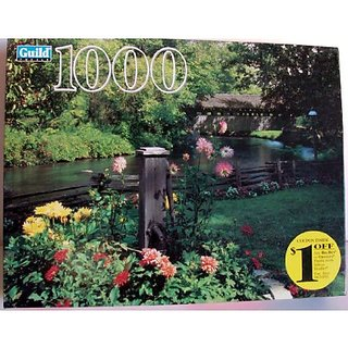 Old Oaken Pump Waupaca County Wisconsin Covered Bridge and Stream 1000 Piece Puzzle by Guild