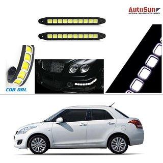 AutoStark Flexible Bumper Car Daytime Running Light COB LED DRL Square Box For  Maruti Suzuki Swift Dzire (Old)