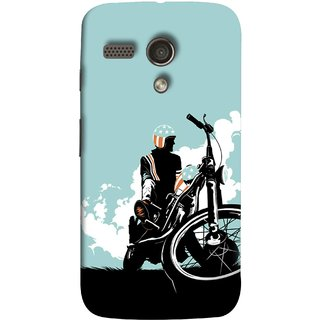FUSON Designer Back Case Cover for Motorola Moto G :: Motorola Moto G (1st Gen) :: Motorola Moto G Dual (Wheels White Clouds Grass Bike Usa Flag Helmet )
