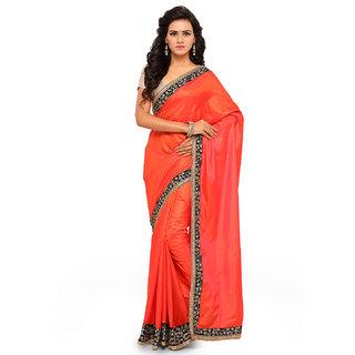 Aahwan Orange Peper Silk Saree With Blouse Material