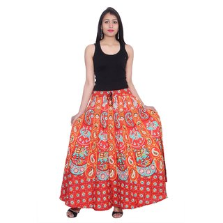 Kastiel Neon Red Cotton Printed Long Skirts For Women / Girls