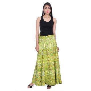Kastiel Neon Pink Cotton Printed Long Skirts For Women / Girls