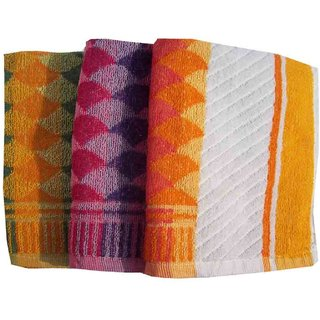 Premium Cotton Bath Towel For The Home Set of 3 Multi Color Bath Towel ( mc3102 )