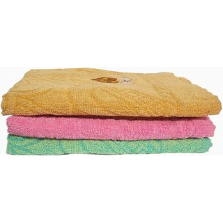 Premium Pure Cotton Set of 3 Multi and Attractive Color Family Bath Towel ( mc3103 )