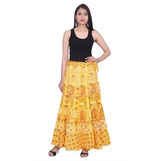 Kastiel Neon Yellow Cotton Printed Long Skirts For Women / Girls