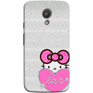FUSON Designer Back Case Cover for Motorola Moto G2 :: Motorola Moto G (2nd Gen)  (Silver Background Pink Red Love Bird Lovers Couples )