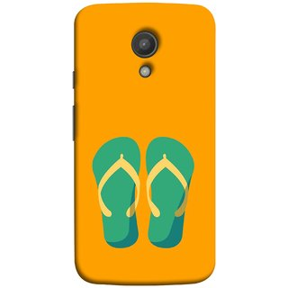 FUSON Designer Back Case Cover for Motorola Moto G2 :: Motorola Moto G (2nd Gen)  (Green Chapplas With Yellow Belts On Orange Back)