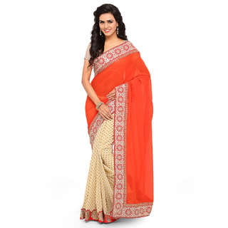 Aahwan Women's   Red & Cream-Coloured Georgette Silk Embroidered Half-and-Half Saree