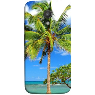 FUSON Designer Back Case Cover for Motorola Moto G2 :: Motorola Moto G (2nd Gen)  (Palmtrees At The Beach Sea Blue Sky New Horizons )