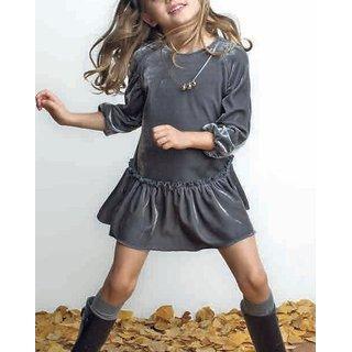 c887be7702e9 Buy Meia for girls grey velvet frill frock Online - Get 55% Off