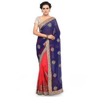 Aahwan sarees for Women Embroidered Blue Half And Half Georgette Saree With Blouse Material
