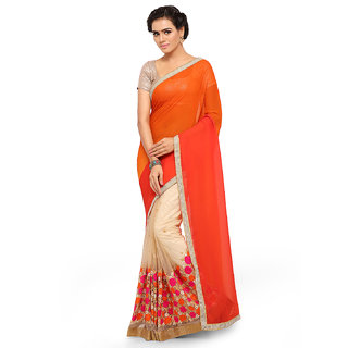 Aahwan sarees for Women Embroidered light Orange Half And Half Georgette Saree With Blouse Material