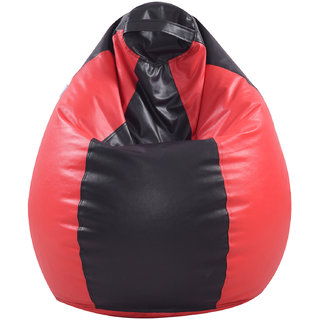 Satin cloud Leatherette Single Seating XL Size Bean Bag Without Beans  Double Stitched For Strength And Safety - RedBlack