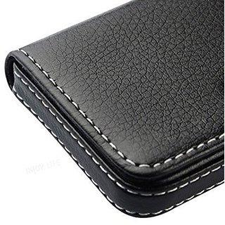 Evershine Pocket Sized Stitched Leather Case Card Holder ATM cardholder Valentine gift Wallet (Synthetic leather/Rexine)