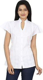 Anam Export Women's Embroidered Casual White Shirt