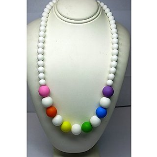 Chewable Teething Necklace for Teething Babies or Nursing Moms. White 9mm Beads on Top and 14mm Colo