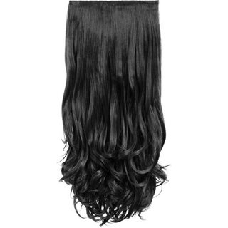D-DIVINE 24 Inches Natural Black Clip In Wavy Hair Extension