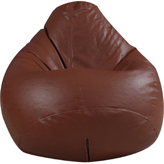 Satin cloud Leatherette Single Seating XL Size Bean Bag Without Beans  Double Stitched For Strength And Safety - Light Brown