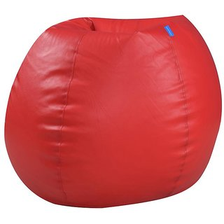 Satin cloud Leatherette Single Seating XXL Size Bean Bag Without Beans  Double Stitched For Strength And Safety - Red