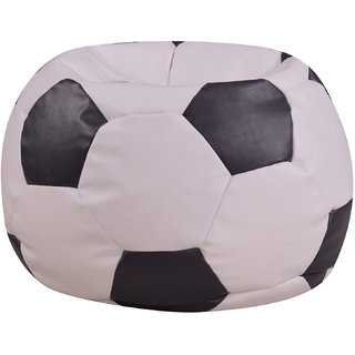 Satin cloud Leatherette S Size Football Bean Bag Without Beans (Black/White)