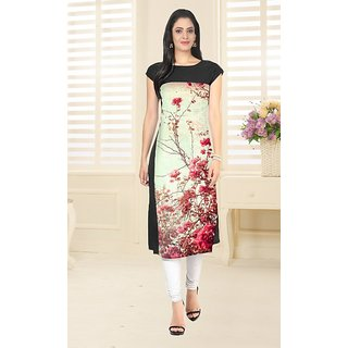 Glance Designs Woman's Digital Printed crepe straight cut kurti14