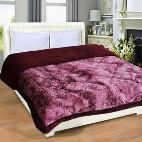 Peponi Wine/Light Purple color warm heavy weight Double Bed Embossed (Rose texture) Quilt, 4.5 kgs, Reversible,
