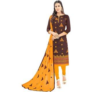 DnVeens Women Chanderi Embroidered Unstiched Suit Salwar Kameez Dress Material With Dupatta BLGNGSMR1003