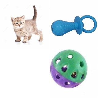 W9 High Quality Natural Rubber Colorful Toy With Cute Plastic Ball - Size Small (Blue)