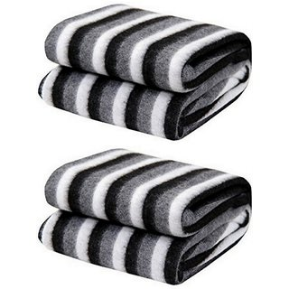 Black and White Stripe Single Bed Ac Fleece Blanket- set of 2 by vivek homesaaz