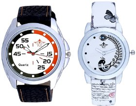 Round Dial Orange Black With White Peacock Feathers Cou