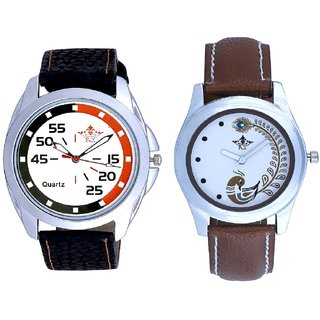 Round Dial Orange Black With Brown Peacock Feathers Couple Casual Analogue SCK Wrist Watch