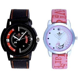 Orange Smarty Sporty With Lite Pink Peacock Feathers Couple Casual Analogue SCK Wrist Watch