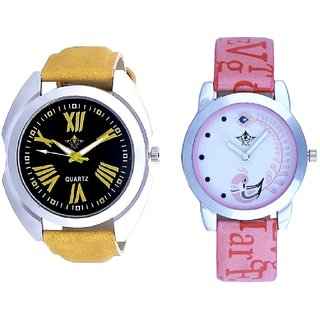 Yellow Roman Digits Sports With Lite Pink Peacock Feathers Couple Casual Analogue SCK Wrist Watch