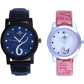 Sixth Art Design Denim Blue With Lite Pink Peacock Feathers Couple Casual Analogue SCK Wrist Watch