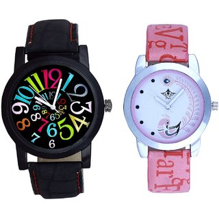 Black Dial Colour Digits With Lite Pink Peacock Feathers Couple Casual Analogue SCK Wrist Watch