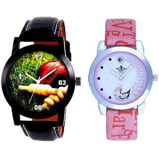 Cricket Studio Design With Lite Pink Peacock Feathers Couple Casual Analogue SCK Wrist Watch