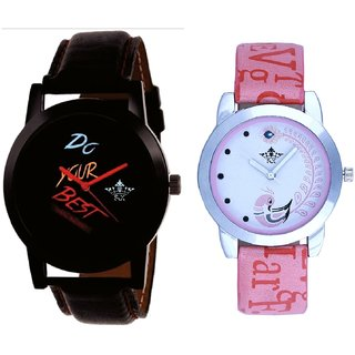Do Your Best With Lite Pink Peacock Feathers Couple Casual Analogue SCK Wrist Watch