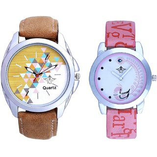 Isolatic Design Brown Belt With Lite Pink Peacock Feathers Couple Casual Analogue SCK Wrist Watch