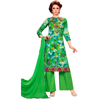 Swaron Green Embroidery,Printed Evening Wear Glace Cotton Unstitched Salwar Suit
