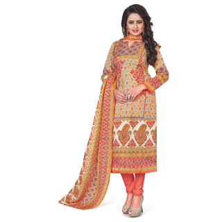 Swaron Beige and Multicolor Printed Festive Wear Poly Cotton Unstitched Churidar Suit