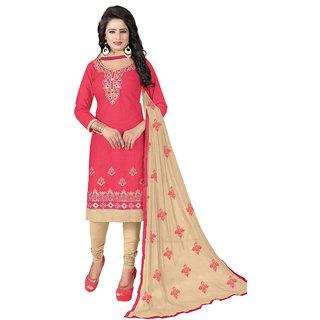 Swaron Peach and Beige Thread Embroidery,Border Festive Wear Cotton Unstitched Salwar Suit