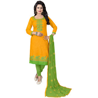 Swaron Yellow and Green Thread Embroidery,Border Festive Wear Cotton Unstitched Salwar Suit
