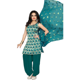Swaron Turquoise and Gold Jacquard Casual Wear Silk Jacquard Unstitched Patiyala Dress Material
