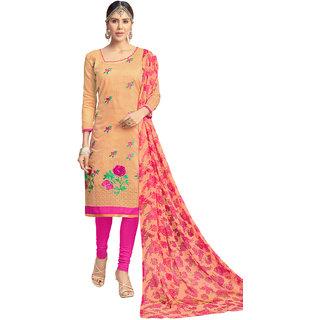 Swaron Beige and Pink Thread Embroidery,Border Evening Wear Chanderi Unstitched Salwar Suit