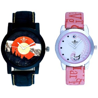 Mount Themes With Lite Pink Peacock Feathers Couple Casual Analogue SCK Wrist Watch