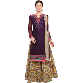 Swaron Purple and Beige Top-Thread Embroidery,Border Bottom-Printed Evening Wear Cotton Unstitched Salwar Suit