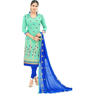 Swaron Turquoise and Blue Thread Embroidery,Border Festive Wear Chanderi Unstitched Churidar Suit