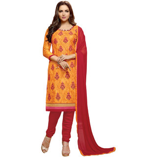 Swaron Yellow and Red Thread Embroidery Evening Wear Cotton Unstitched Salwar Suit