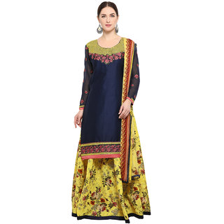 Swaron Blue and Yellow Top-Thread Embroidery,Border Bottom-Printed Evening Wear Cotton Unstitched Salwar Suit