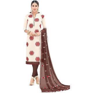 Swaron Cream and Brown Thread Embroidery,Border Festive Wear Chanderi Unstitched Churidar Suit